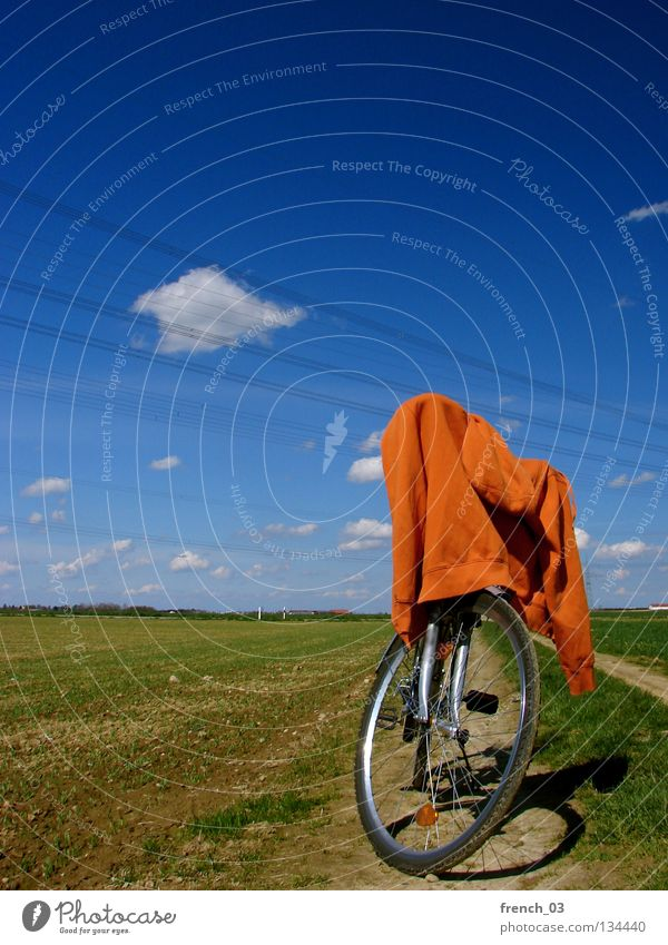 Sweater on tour Clouds Cyan Bicycle Jacket Green Meadow Grass Field Agriculture Break Fork Cycling tour Vacation & Travel Relaxation Free Release Empty