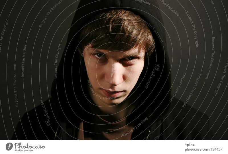 BÖSE Evil Anger Aggression Dangerous Threat Eerie Attack Portrait photograph Man angry Devil Looking Eyes Hooded (clothing) Star Wars