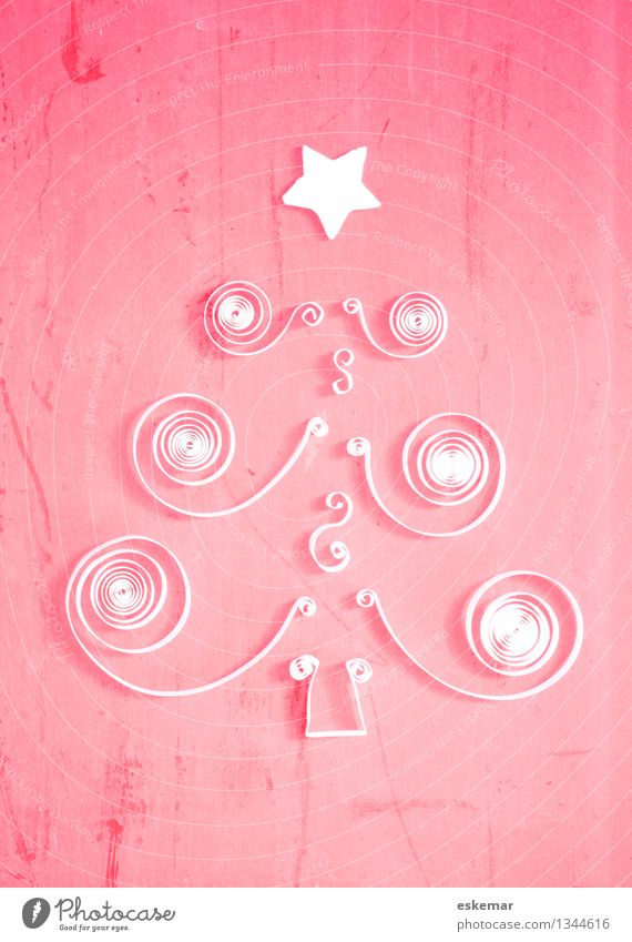 Christmas poetiscch Handicraft quilling Origami Christmas & Advent Christmas tree Card Tree Paper Esthetic Hip & trendy Beautiful Pink White Creativity