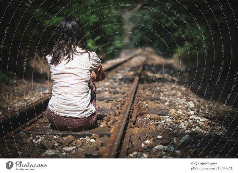 Women sitting on railroad Beautiful Life Vacation & Travel Tourism Trip Summer Human being Girl Woman Adults Transport Street Railroad Fashion Line Sadness