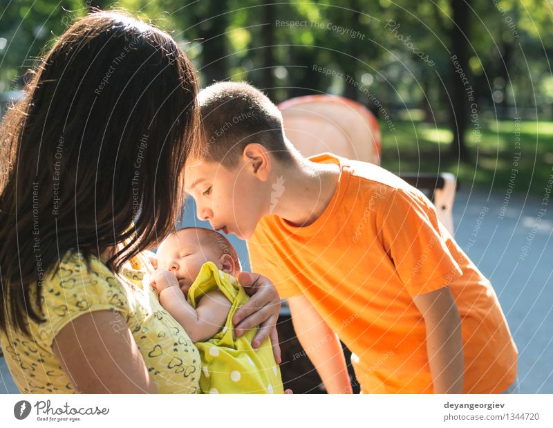 Women, brother and baby in a park. Joy Happy Summer Garden Child Baby Toddler Girl Boy (child) Woman Adults Parents Mother Sister Family & Relations Nature Park