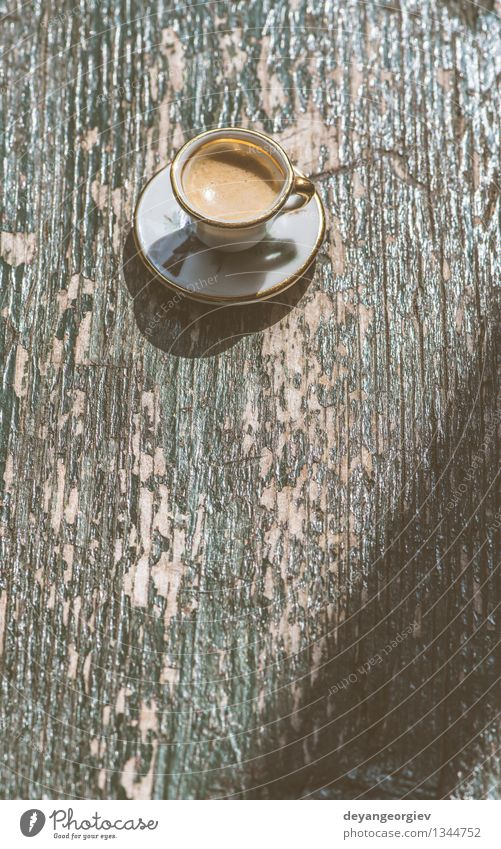 Cup of coffee on wooden table Coffee Espresso Desk Table Old Fresh Hot Small Retro Brown Black cup Miniature Top Café drink Vantage point Caffeine mug food