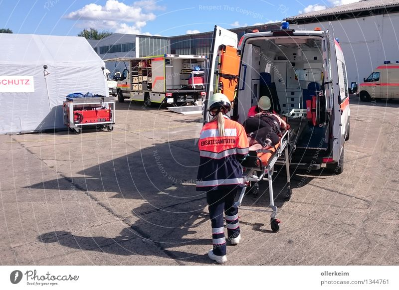 ambulance, emergency, ambulance, paramedic, patient, rescue operation Healthy Movement Copy Space top Day Long shot Forward Health care Medical treatment