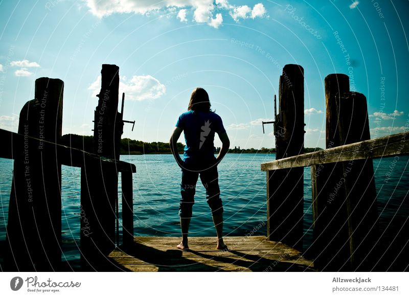 Man Water Sky Blue Summer Clouds Loneliness Dark Lake Think Wait Masculine Free Swimming & Bathing Hot Concentrate