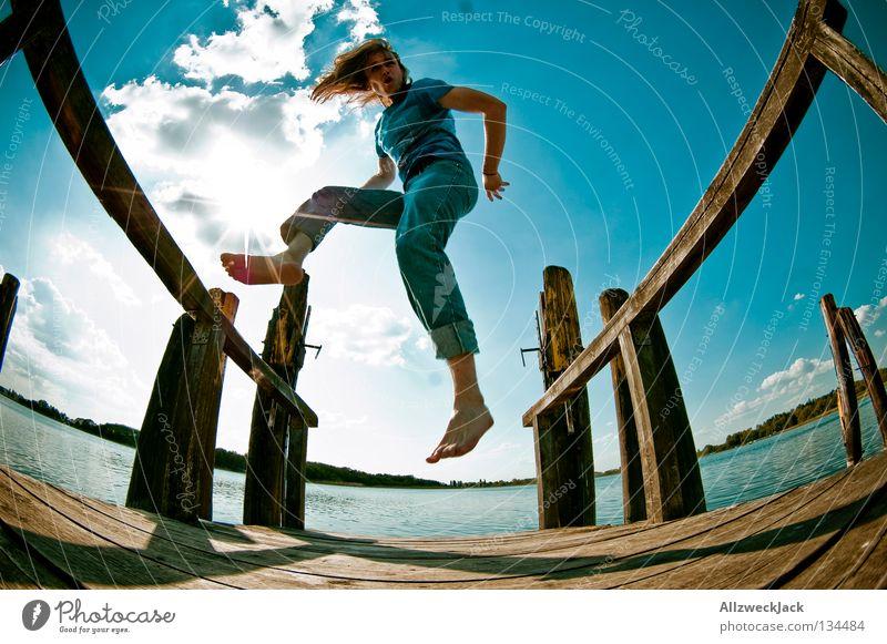 Sky Man Blue Water Summer Joy Clouds Loneliness Dark Playing Freedom Happy Jump Lake Power Swimming & Bathing