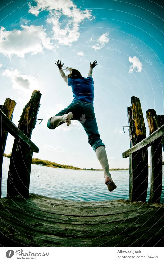 Sky Man Blue Water Summer Joy Clouds Loneliness Dark Freedom Happy Jump Lake Power Swimming & Bathing Flying