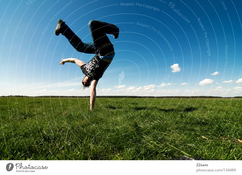 Human being Man Nature Youth (Young adults) Sky White Green Blue Summer Calm Clouds Far-off places Colour Relaxation Meadow Jump