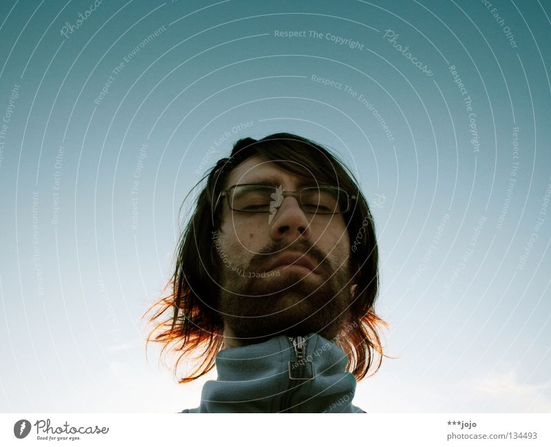 Man Sky Blue Face Calm Head Sadness Think Closed Grief Eyeglasses Concentrate Facial hair Meditation Guy