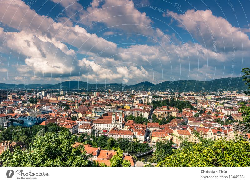 Graz City Life Harmonious Well-being Vacation & Travel Tourism Trip Nature Plant Animal Clouds Summer Beautiful weather Tree Bushes Hill Alps Small Town