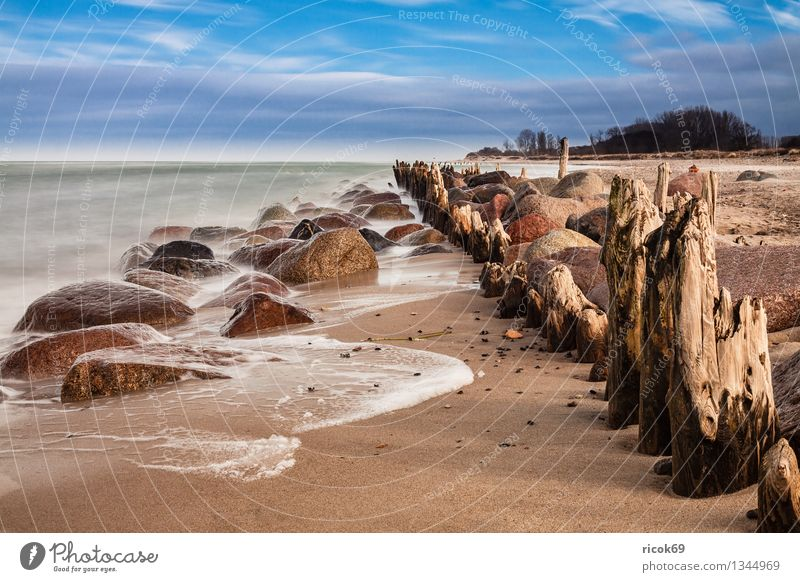 Baltic coast Vacation & Travel Beach Ocean Waves Nature Landscape Water Clouds Gale Rock Coast Baltic Sea Stone Old Blue Calm Tourism Break water Sky