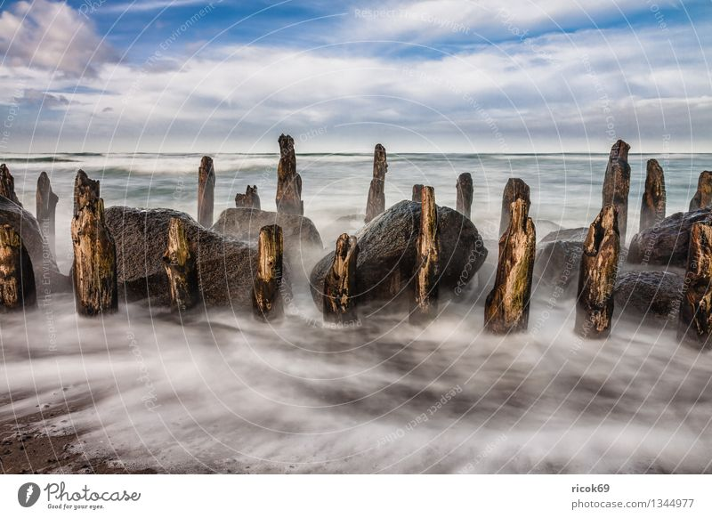 Baltic coast Vacation & Travel Beach Ocean Waves Nature Landscape Water Clouds Gale Rock Coast Baltic Sea Stone Old Blue Tourism Break water Sky
