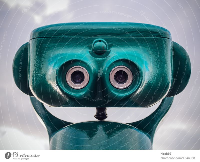 telescope Face Far-off places Clouds Binoculars Telescope Green Whimsical eyes outlook Vantage point Sky Colour photo Multicoloured Exterior shot Looking