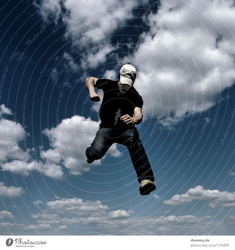 Man Summer Clouds Jump Warmth Legs Feet Footwear Arm Flying Fingers Aviation Jeans Teeth Physics Anger