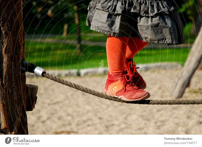 tightrope walker Child Toddler Girl Wirewalker Playground Kindergarten Playing Dress Red Sweet Summer Leisure and hobbies Tights Footwear Contentment Dexterity