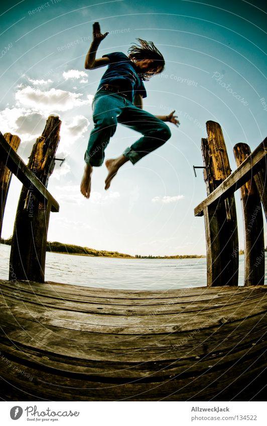 Sky Man Blue Water Summer Joy Clouds Loneliness Dark Freedom Happy Jump Lake Power Swimming & Bathing Flying