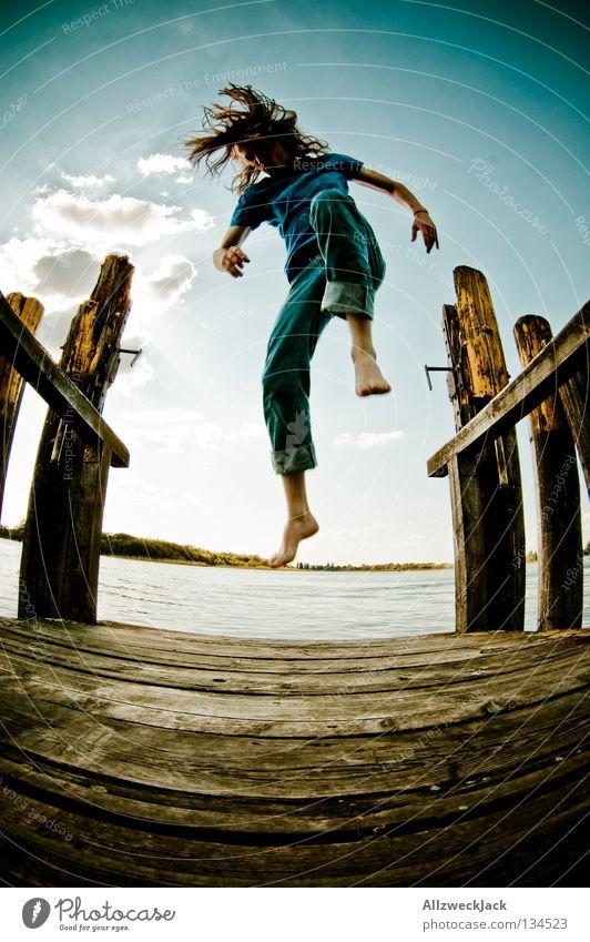 Sky Man Blue Water Summer Joy Loneliness Clouds Dark Freedom Happy Jump Lake Swimming & Bathing Power Flying
