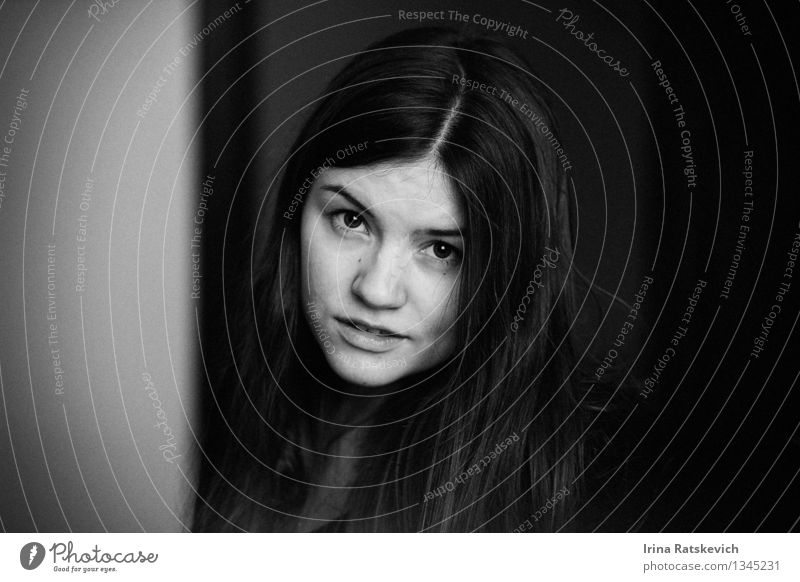 black and white portrait Human being Youth (Young adults) Beautiful Young woman 18 - 30 years Face Adults Eyes Life Love Emotions Funny Happy Hair and hairstyles Freedom Art