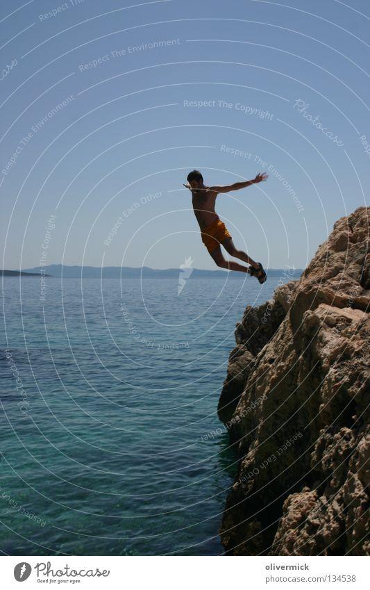 descent Ocean Jump Release Horizon Refreshment Rock Free Blue sky Freedom Movement Joy To enjoy