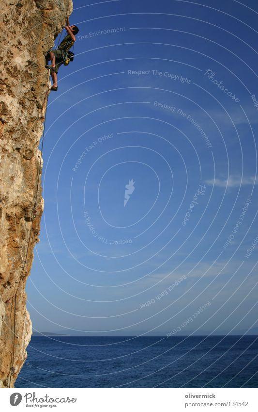 Sky Ocean Blue Clouds Power Rock Climbing Trust Brave Endurance Cliff Willpower Mountaineer Funsport