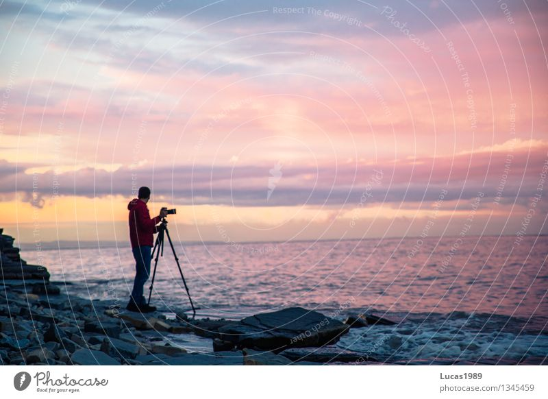 Sunset in pink and blue Photographer Human being Masculine Young man Youth (Young adults) Man Adults 1 Environment Landscape Water Sky Clouds Sunrise