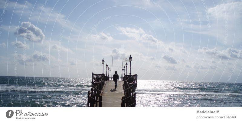 Way to the horizon Man Clouds Ocean Spain Summer Sky Water Bridge Blue Sun
