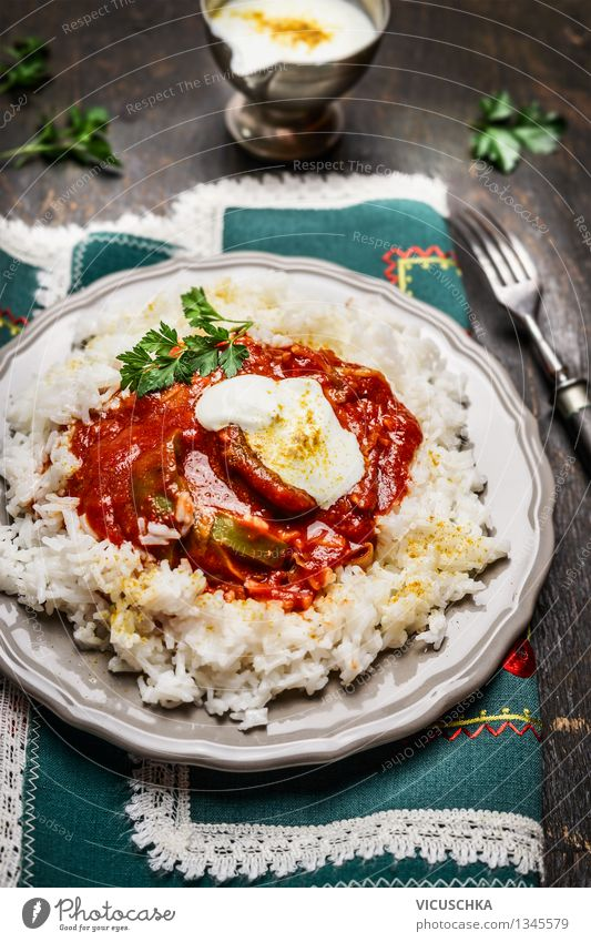 Rice with meat, vegetables, tomato sauce and yoghurt sauce Meat Vegetable Grain Nutrition Lunch Dinner Plate Fork Healthy Eating Table Restaurant Design Style