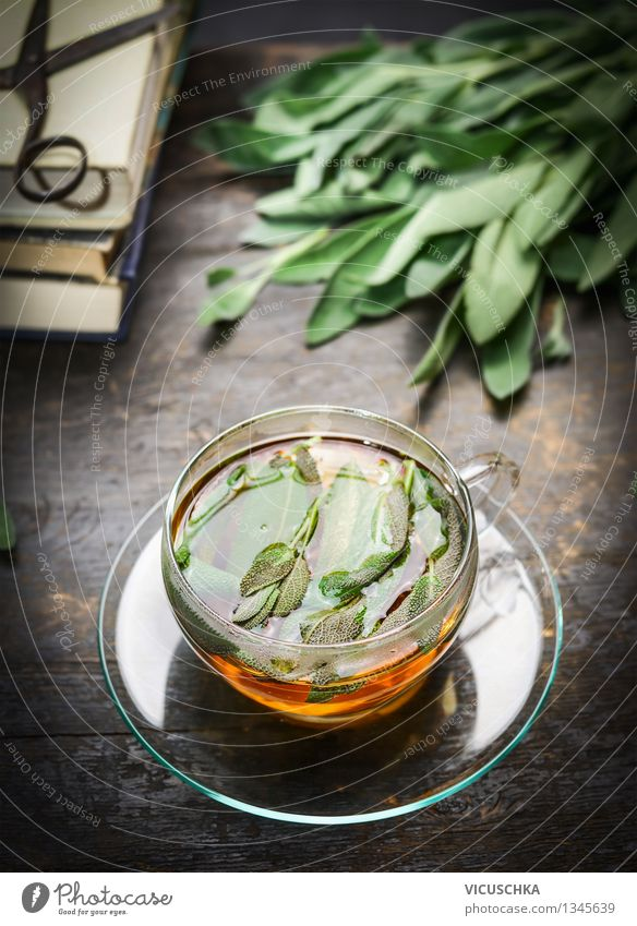 Herbal tea with fresh sage leaves Herbs and spices Beverage Hot drink Tea Cup Style Alternative medicine Healthy Eating Life Cure Flat (apartment) Table Design