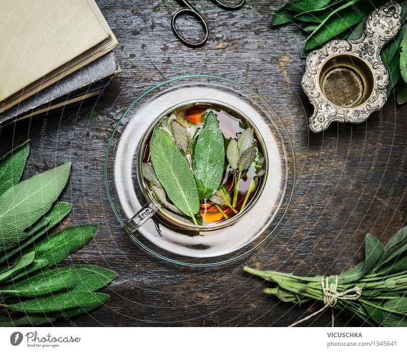 Cup of sage tea with fresh herbs leaves Food Herbs and spices Beverage Hot drink Tea Plate Lifestyle Style Design Alternative medicine Healthy Eating Well-being