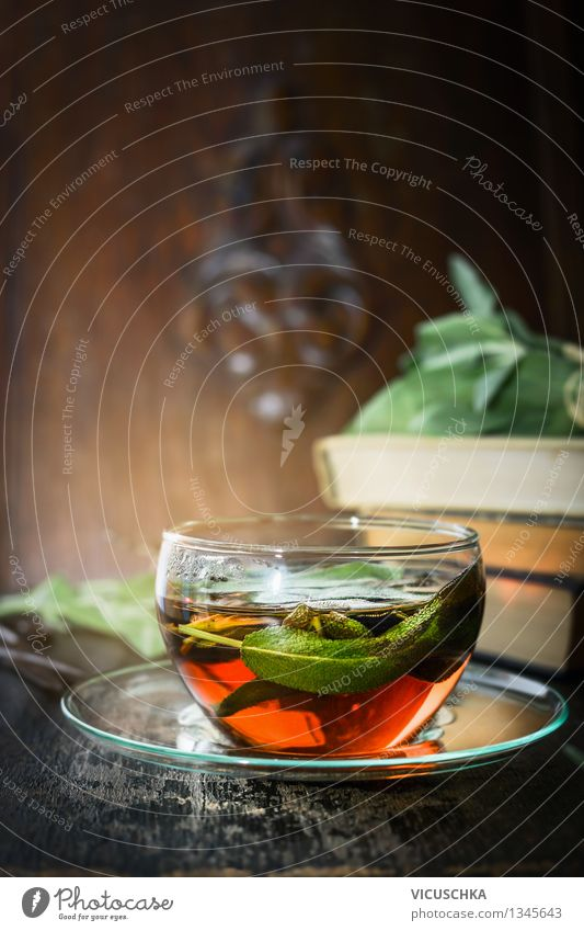 Herbal tea with sage Food Herbs and spices Nutrition Breakfast Organic produce Vegetarian diet Diet Beverage Hot drink Tea Cup Lifestyle Style Design Healthy