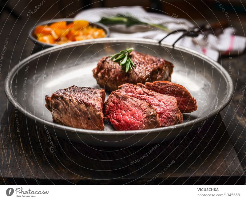 A good steak Mignon, medium fried Food Meat Nutrition Lunch Dinner Buffet Brunch Organic produce Diet Plate Fork Style Design Healthy Eating Table Steak