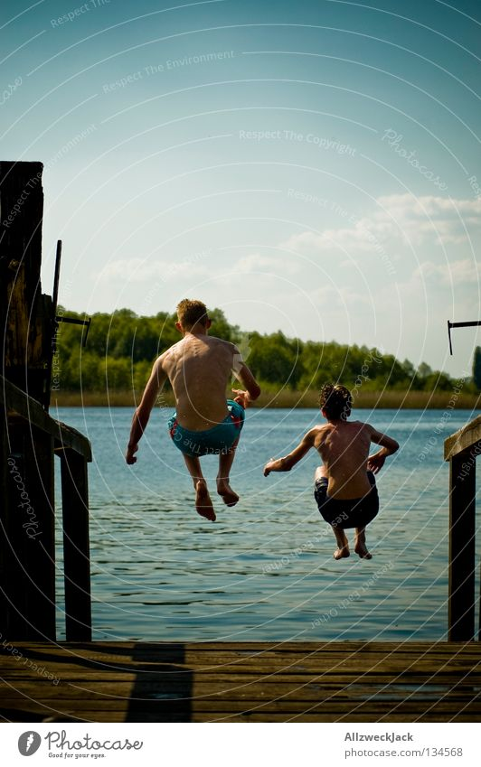 Man Water Sky Blue Summer Joy Clouds Loneliness Boy (child) Jump Freedom Happy Lake Power Masculine Flying