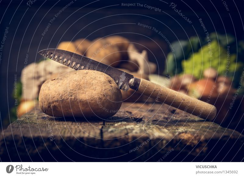 Potatoes and old knives Food Vegetable Nutrition Lunch Dinner Organic produce Vegetarian diet Diet Knives Style Design Healthy Eating Life Garden Table Kitchen