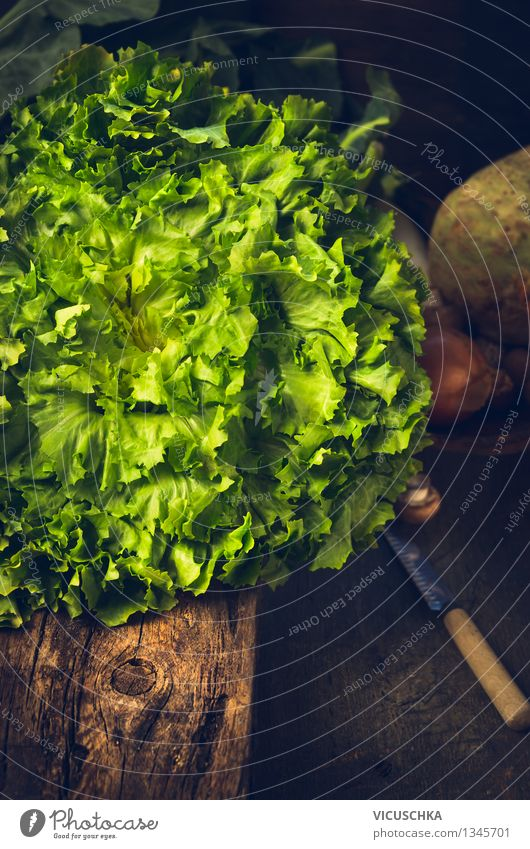 Fresh lettuce on a rustic kitchen table Food Vegetable Lettuce Salad Nutrition Lunch Organic produce Vegetarian diet Diet Knives Lifestyle Style Design