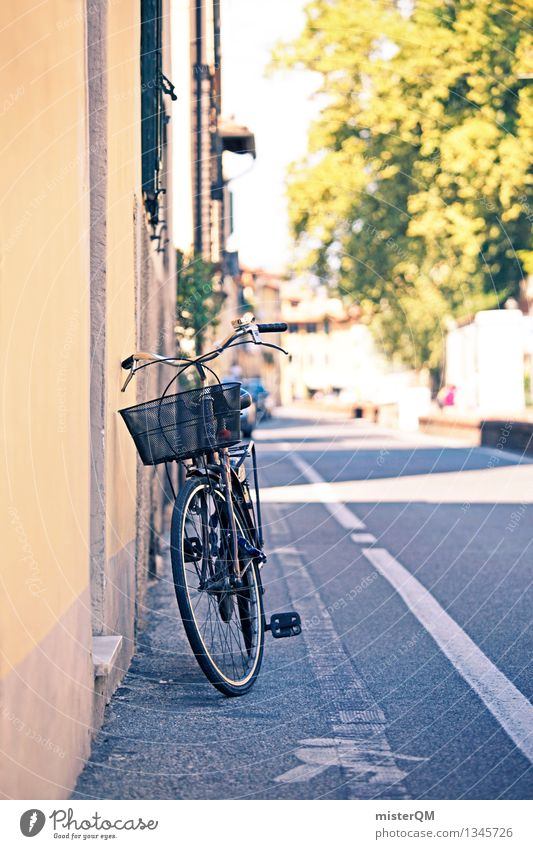Forget milk... Art Esthetic Bicycle Cycling Cycling tour Cycle path Bicycle handlebars Bicycle fittings Italy Lucca Tuscany Vacation photo Colour photo