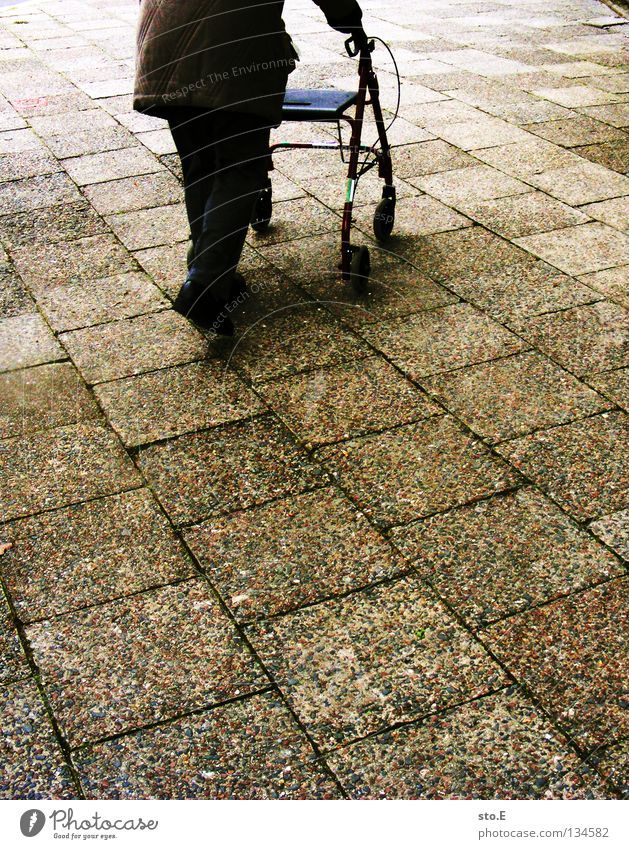 Woman Senior citizen Movement Stone Going Walking Transience Traffic infrastructure Cobblestones Diagonal Coil Walking aid Paving stone Basket Parallel Prop