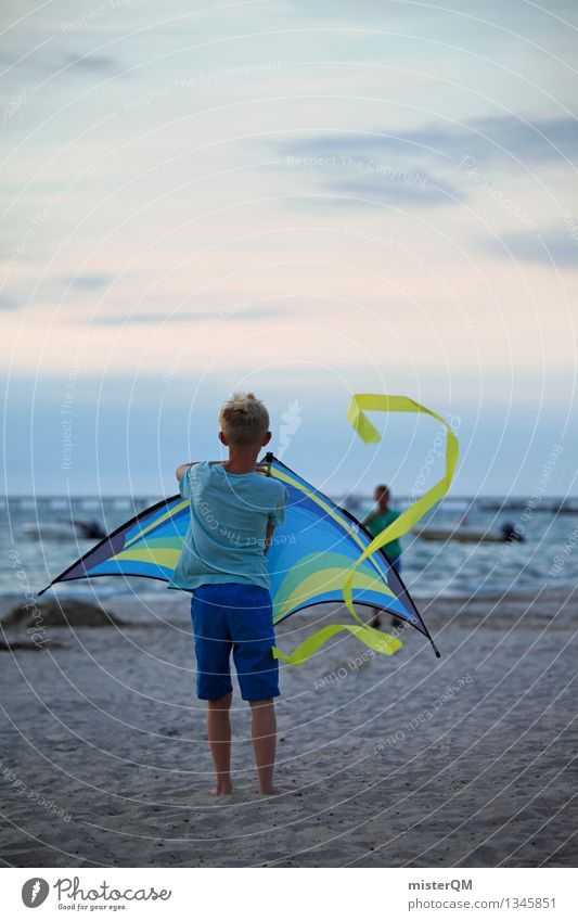On the Beach III Environment Esthetic Adventure Infancy Childhood memory Foolproof Children's game Kite Ascending Rising Wind Hang gliding Blow Vacation mood