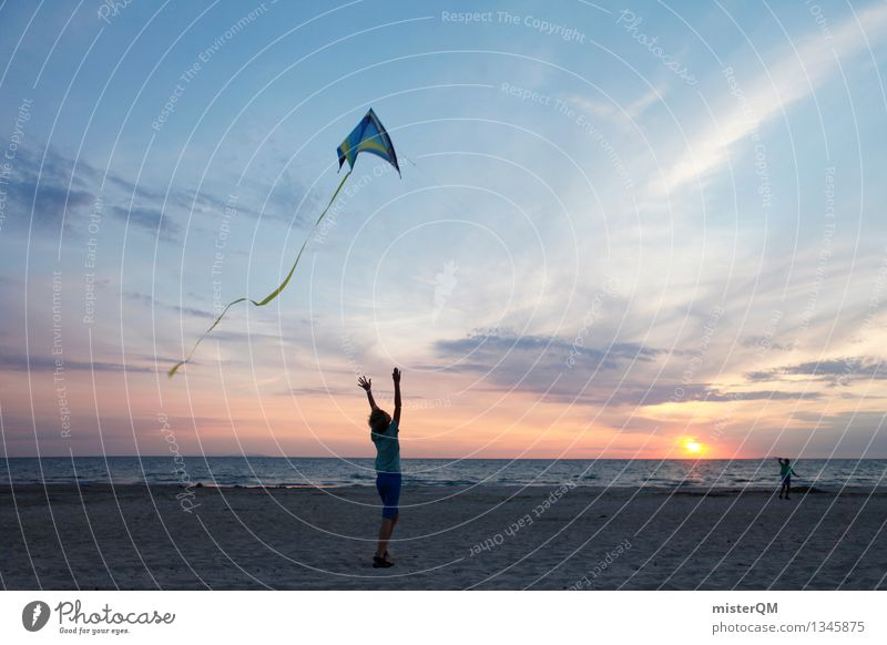 On the Beach II Art Esthetic Wind Go up Gust of wind Leisure and hobbies Playing Effortless Kite Hang gliding Vacation & Travel Freedom Ease Together