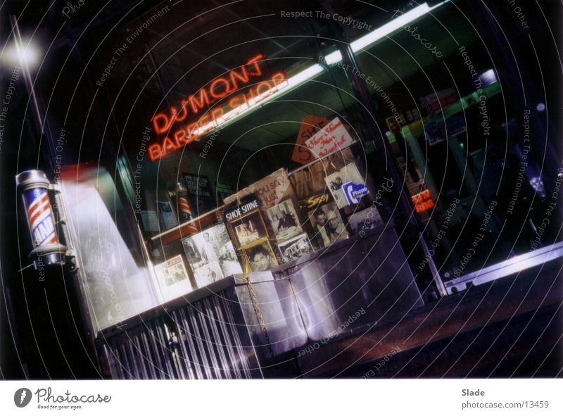 Dumont Barber Shop New York City Americas Shop window North America Hairdresser Barber shop Night Night shot Neon sign