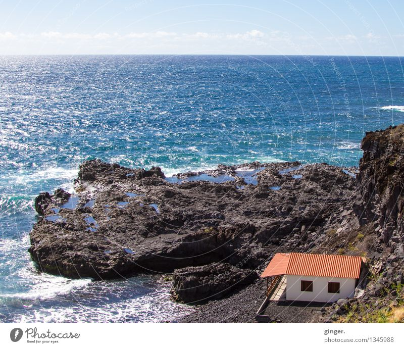 La Palma - So close to the sea Environment Nature Elements Water Sky Clouds Sunlight Spring Weather Beautiful weather House (Residential Structure) Blue Brown