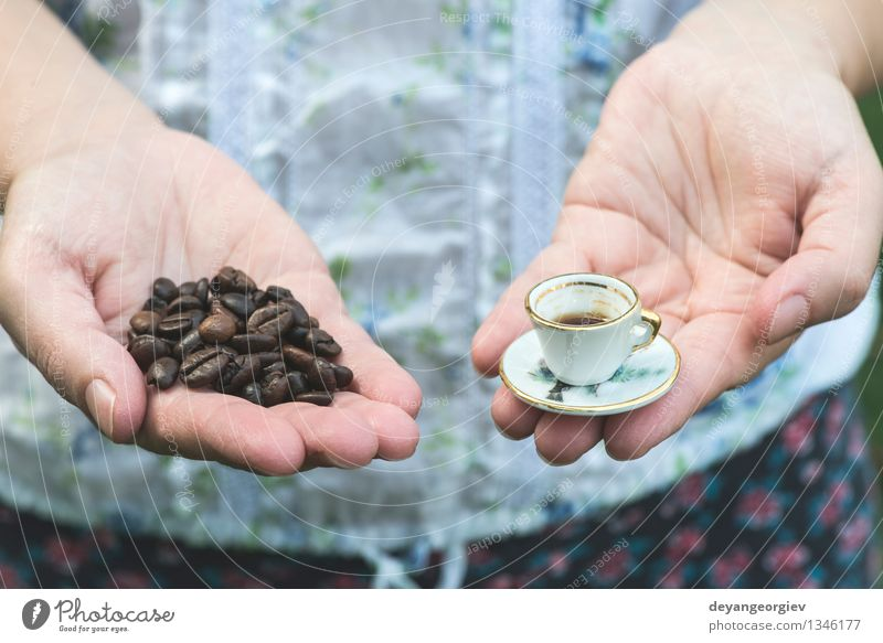 Hand hold very small cup of coffee Coffee Style Garden Table Woman Adults Old Hot Small Retro White Colour Miniature Café Hold overhead vintage Saucer people