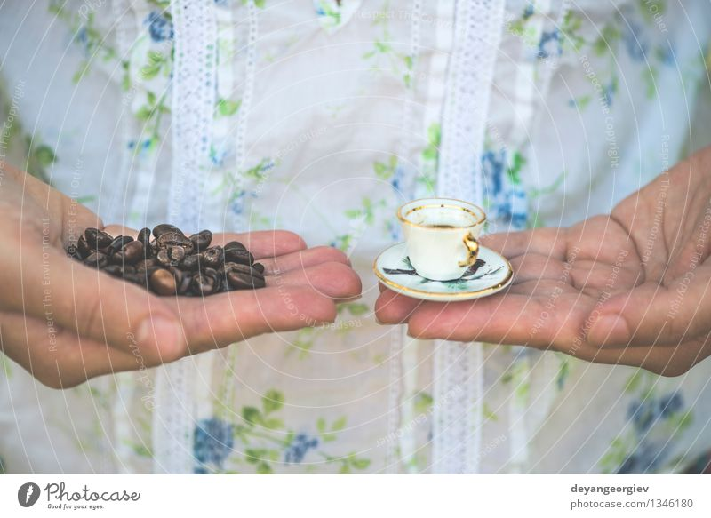 Hand hold very small cup of coffee Woman Old Colour White Adults Style Small Garden Vantage point Table Retro Coffee Hot Café Hold