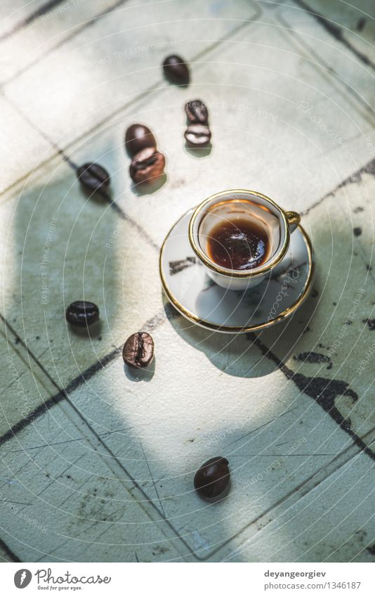 Cup of coffee on table Coffee Espresso Desk Table Old Fresh Hot Small Retro Brown Black cup Miniature wooden Top Café drink Vantage point Caffeine mug food