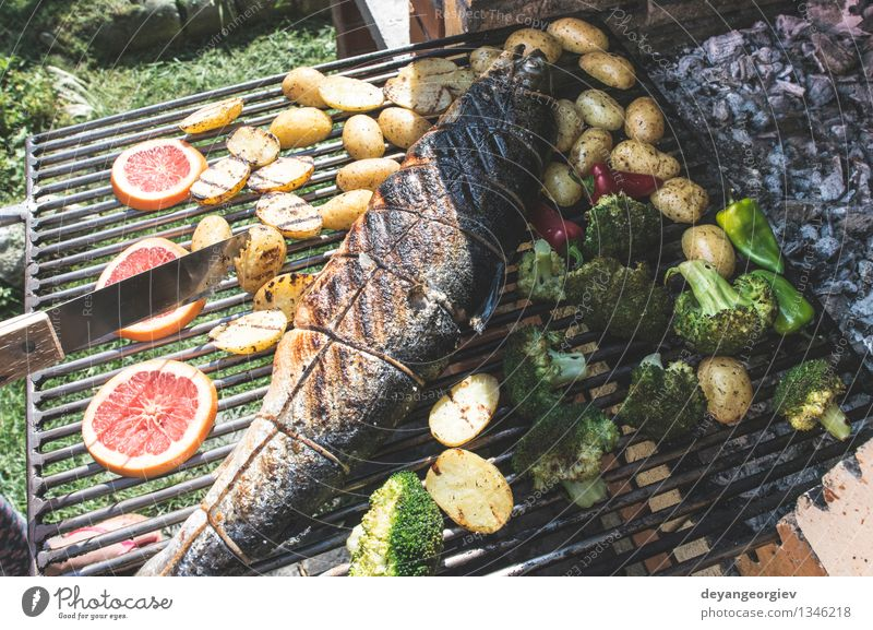 Roasting salmon fish on grill Meat Seafood Vegetable Lunch Rope Paper Fresh Hot Red Salmon Roasted Potatoes Steak Gourmet Meal Broccoli Tomato Cooking Rustic
