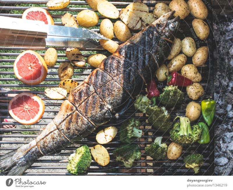 Roasting salmon fish on grill Red Fresh Cooking & Baking Paper Rope Vegetable Hot Meat Meal Tomato Lunch Rustic Potatoes Steak Gourmet
