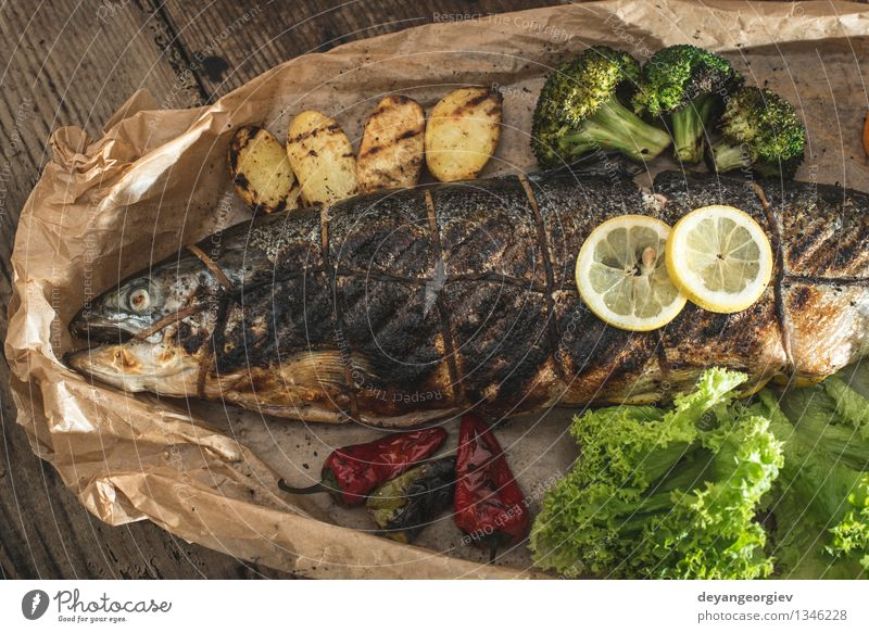 Roasted salmon and vegetables Seafood Vegetable Lunch Dinner Plate Rope Paper Green White Salmon Meal Gourmet Dish Carrot Broccoli Lemon Organic Cooking