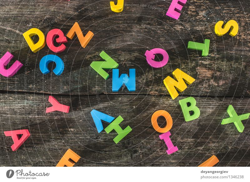 Colorful letters on wooden board Old Colour Design Paper Symbols and metaphors Toys Word Typography Collection Text Mix Preschool Cast iron