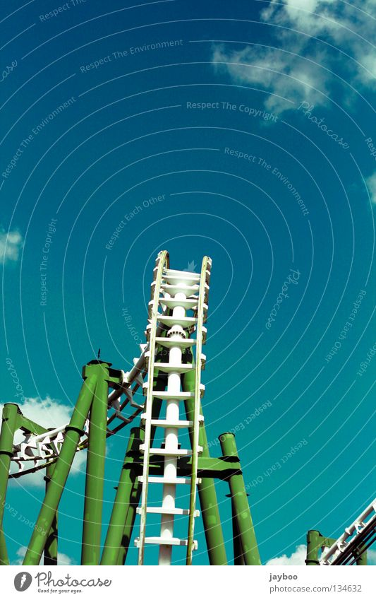Green Blue Clouds Fear Leisure and hobbies Scream Roller coaster