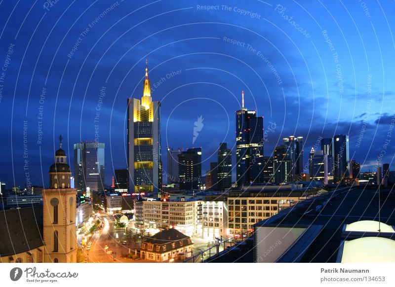 Skyline at night III Town Frankfurt Main High-rise Light Long exposure Sunrise Sunset Metal Facade city of stock exchanges big city on the main mainhattan