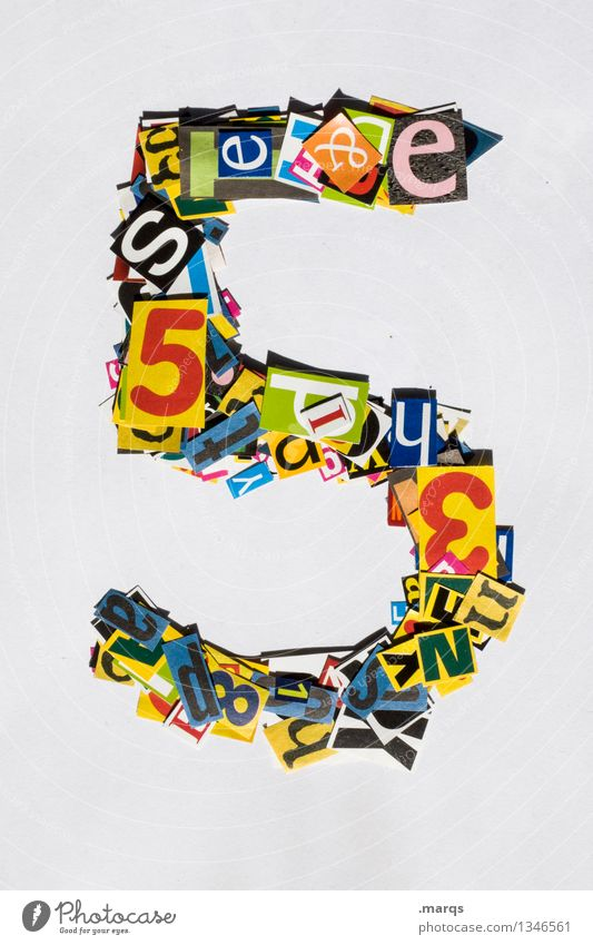 5 Style Design Digits and numbers Multicoloured Snippets Birthday Colour photo Studio shot Isolated Image Neutral Background