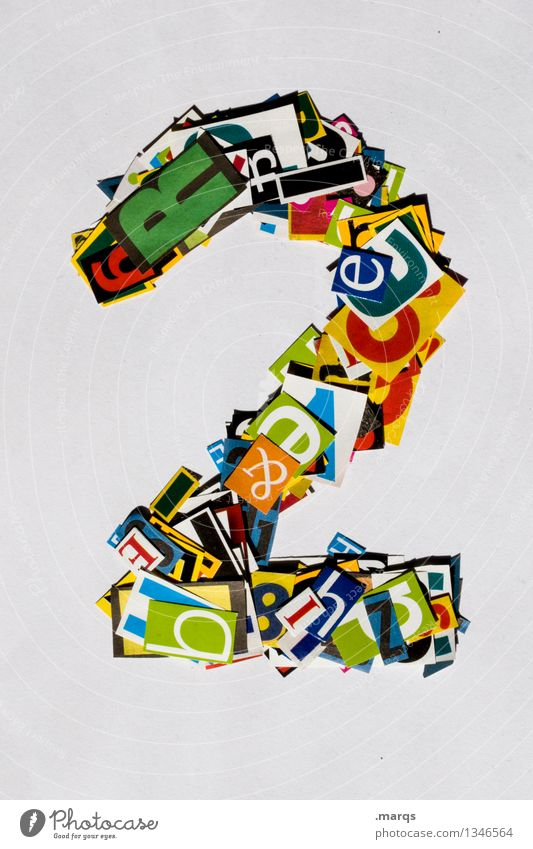 2 Style Design Digits and numbers Multicoloured Snippets Birthday Colour photo Studio shot Isolated Image Neutral Background